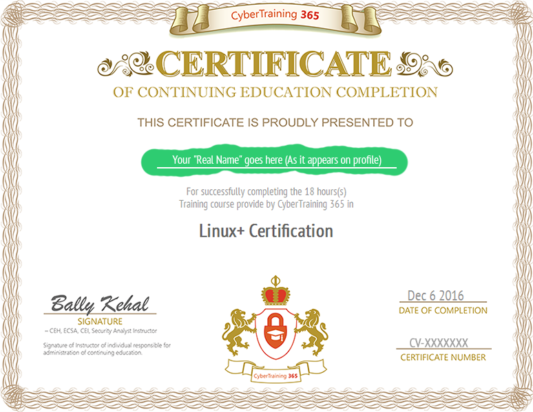 completion certificate | CyberSecurity Training | www ...